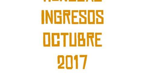 Resumen mensual ingresos Octubre 2017